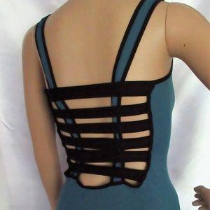 NWT Bebe bodycon lattice-back green blue stretch